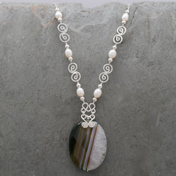 Banded Agate Freshwater Pearl Necklace