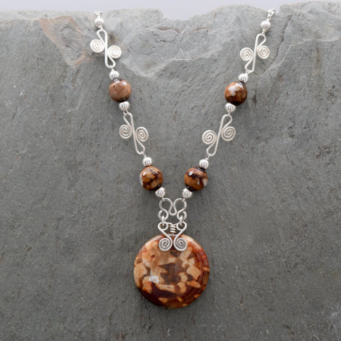 Sisai Coffee Fire Agate Necklace