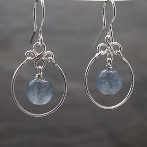 Encircled Cloudy Agate Earring