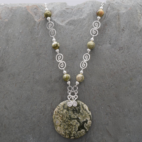 Rainforest Rhyolite Jatun Round Necklace