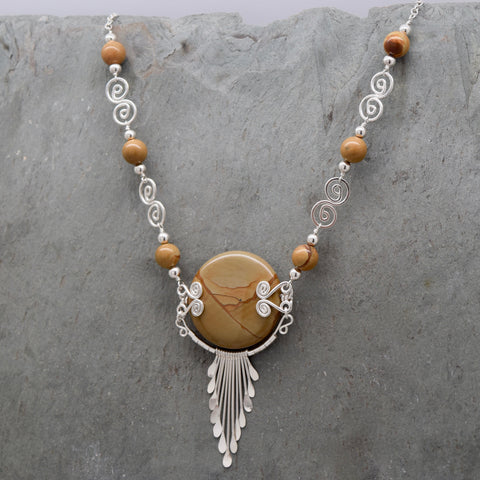 Feathered Picture Jasper Round Necklace