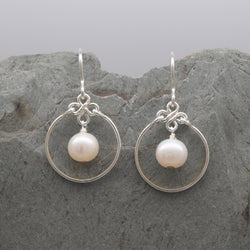 Encircled White Freshwater Pearl Earring