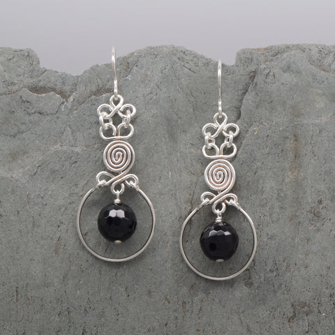 Encircled Spiral Onyx Earring