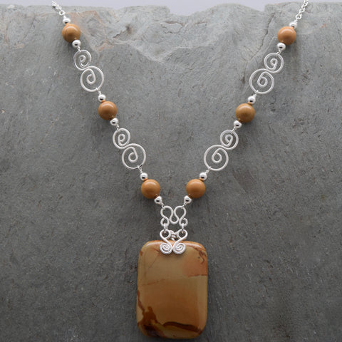 Picture Jasper Necklace Rectangular