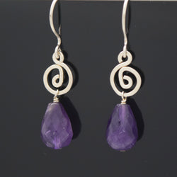 Deep Amethyst Drop Earring