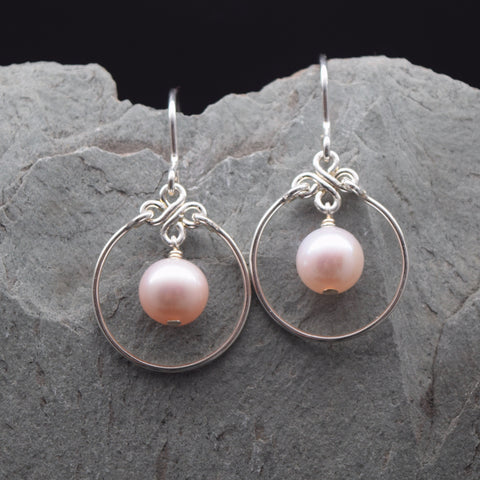 Encircled Pink Freshwater Pearl Earring