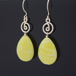 Large Lemon Jasper Smooth Drop Earrings