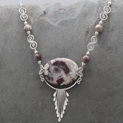 Feathered Crazy Lace Agate Necklace