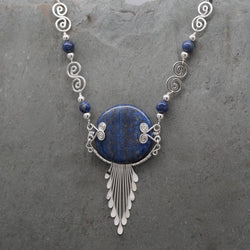 Feathered Lapis Lazuli Necklace