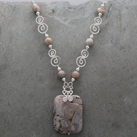 Grey Crazy Lace Agate Necklace