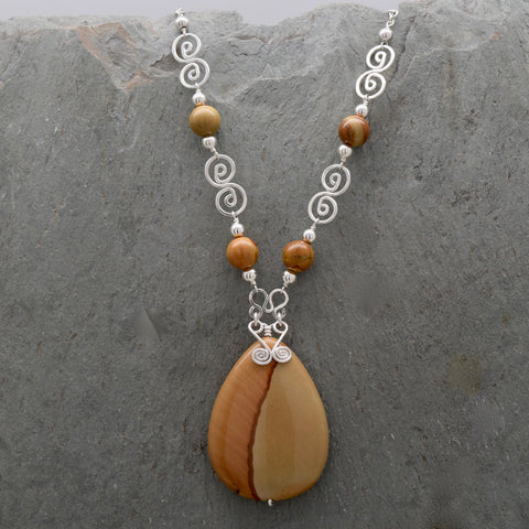 Picture Jasper Necklace Teardrop