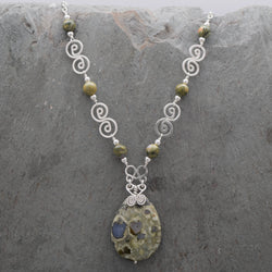 Rainforest Rhyolite Teardrop Necklace