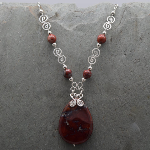 Rough American Red Jasper Teardrop Necklace