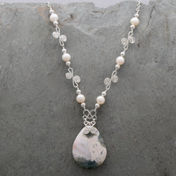Sisa Ocean Jasper and Freshwater Pearl Necklace
