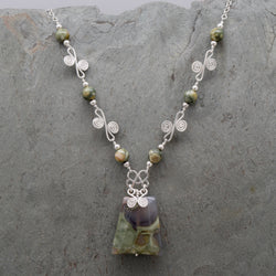 Sisa Rainforest Rhyolite Trapezoid Necklace
