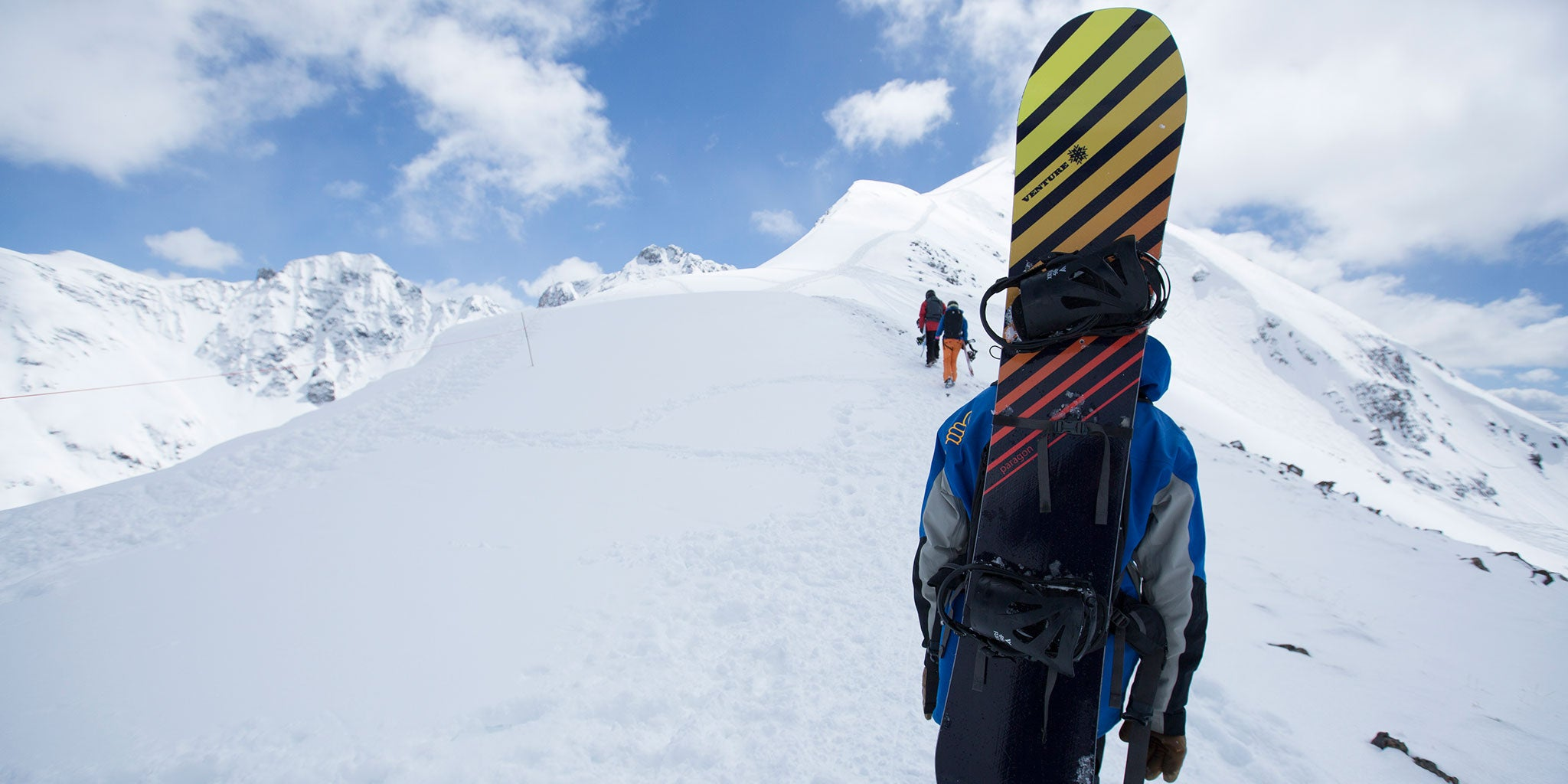 Venture's Paragon snowboard on Silverton Mountain.
