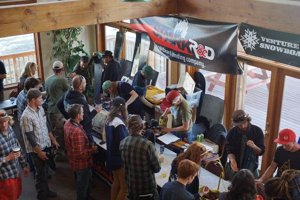Venture Snowboards and Spark R&D demo tables at the 2017 Silverton Splitfest