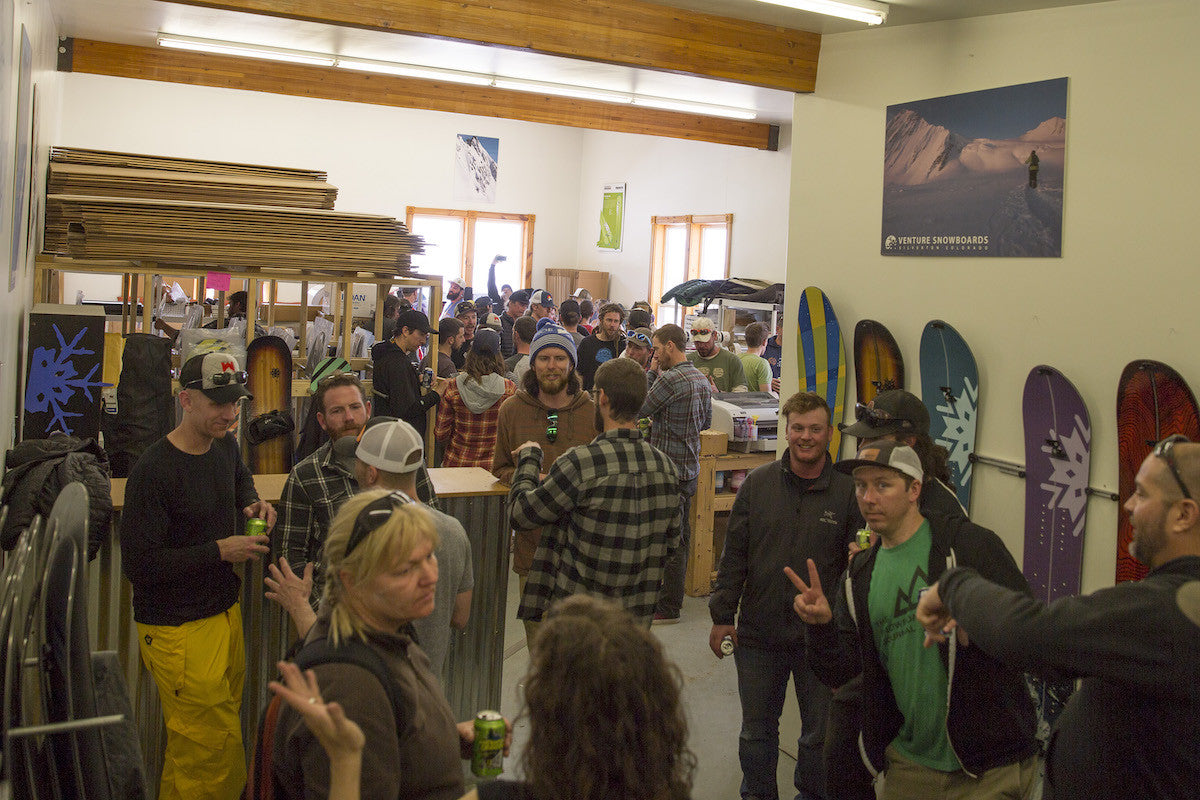 Venture Snowboards factory welcome part at 2017 Silverton Splitfest.