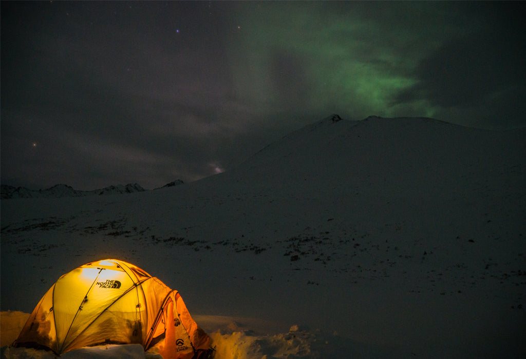 Venture Snowboards Base Camp at Night Tombstone Provincial Park