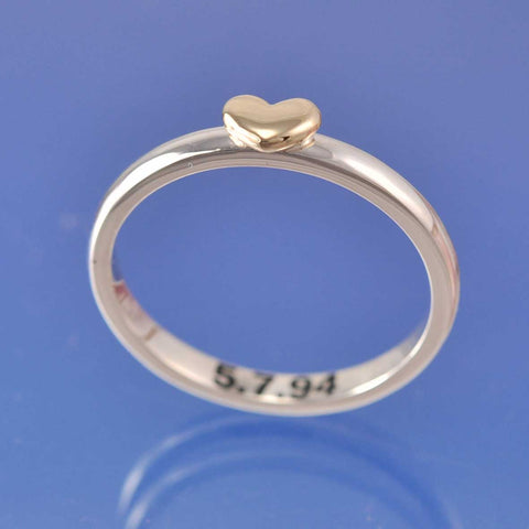personalised love heart ring