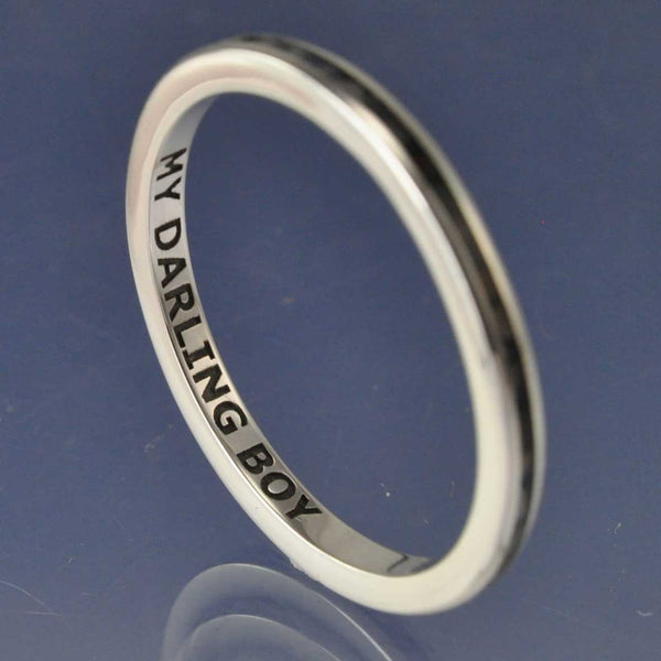 Cremation Ash Ring. 2mm Narrow Channel Set