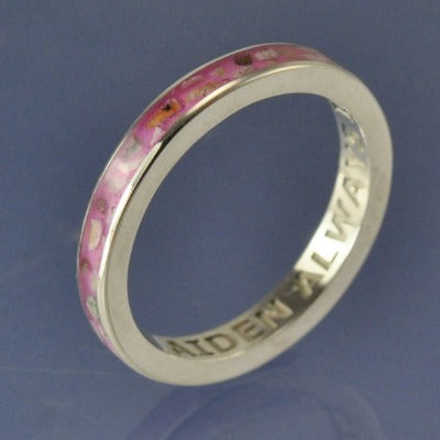 Cremation Ash Ring. 3mm Narrow Channel Set