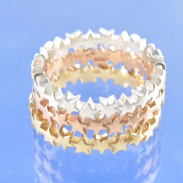 Cremation Ash 4mm String of Stars Ring