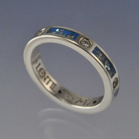 Cremation Ash Ring. 3mm With Diamonds (0.18ct Total)