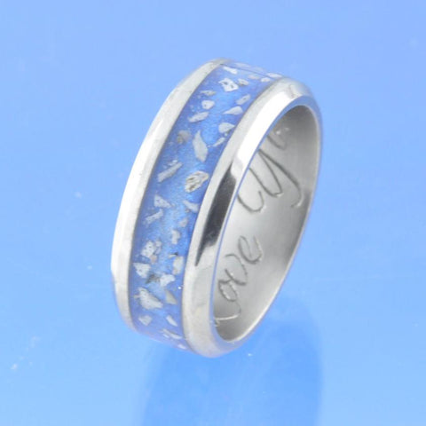 8mm Channel set Cremation Ash Ring - Titanium