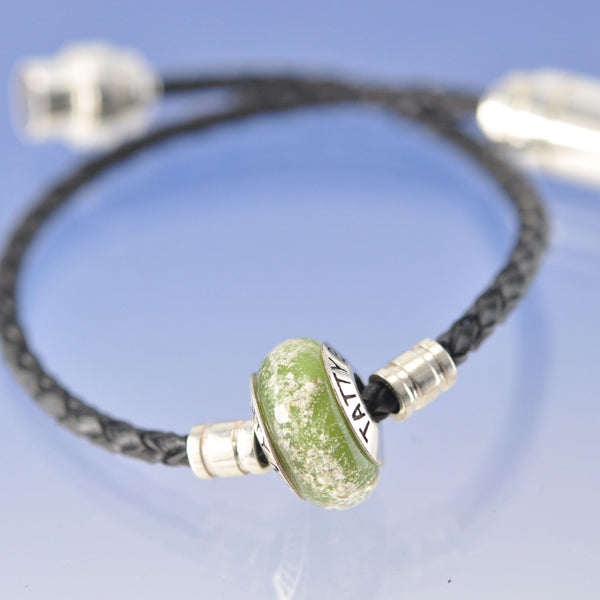 Cremation Ash Glass Bead ON leather bracelet.
