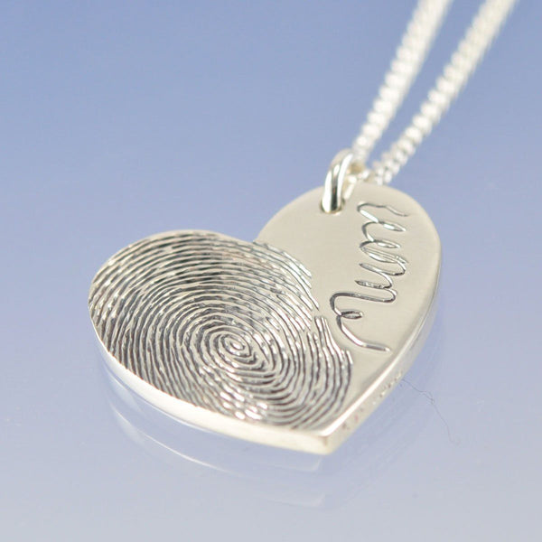 Fingerprint Symmetric Bulbous Heart Pendant