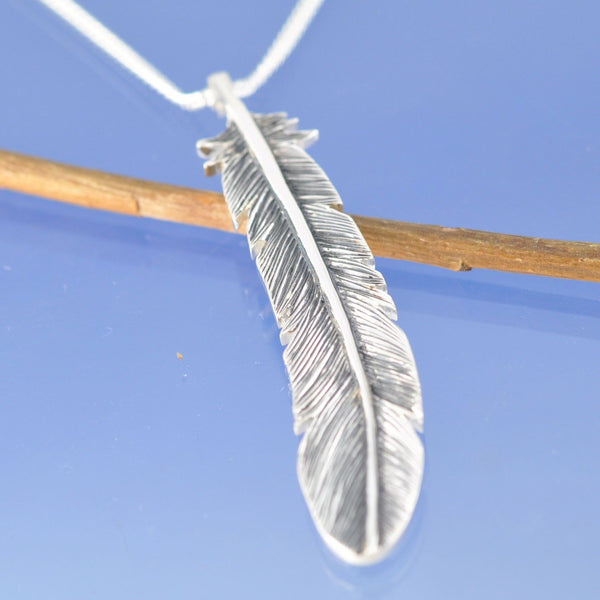 Feather Shaped Cremation Ash Pendant