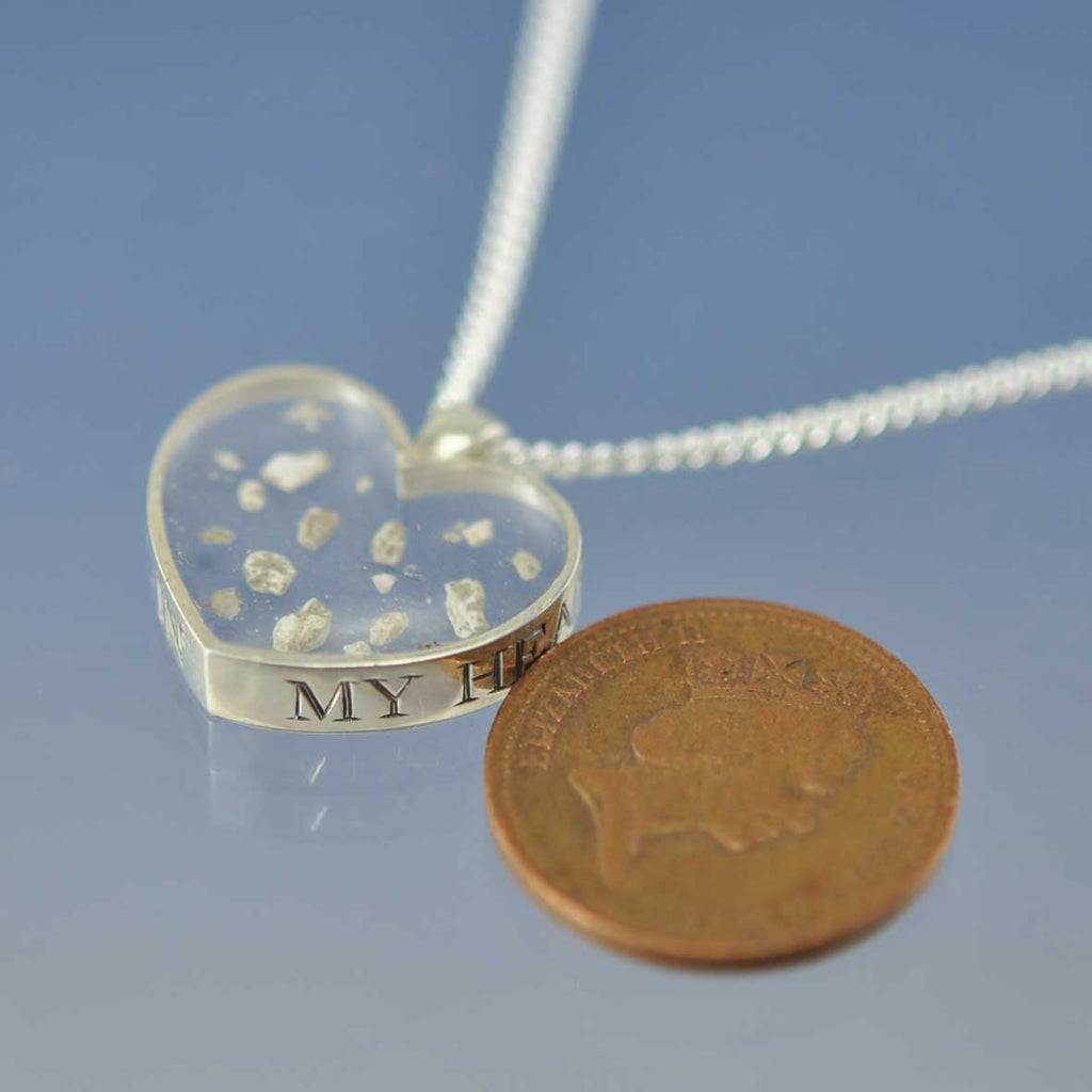 15mm Heart Shaped Cremation Ash Pendant