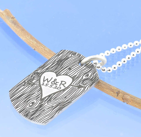 Lovers Wood Cut Steel Dog Tag Pendant Chris-Parry-Handmade