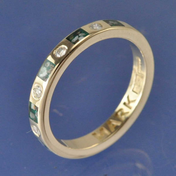 Cremation Ash Ring. 3mm With Diamonds (0.30ct Total)