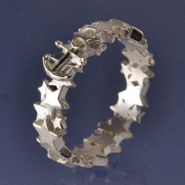 Cremation Ash Anchor Star  Ring