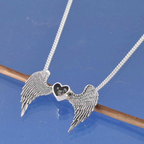 Cremation Ash Heart with Angel Wings Necklace