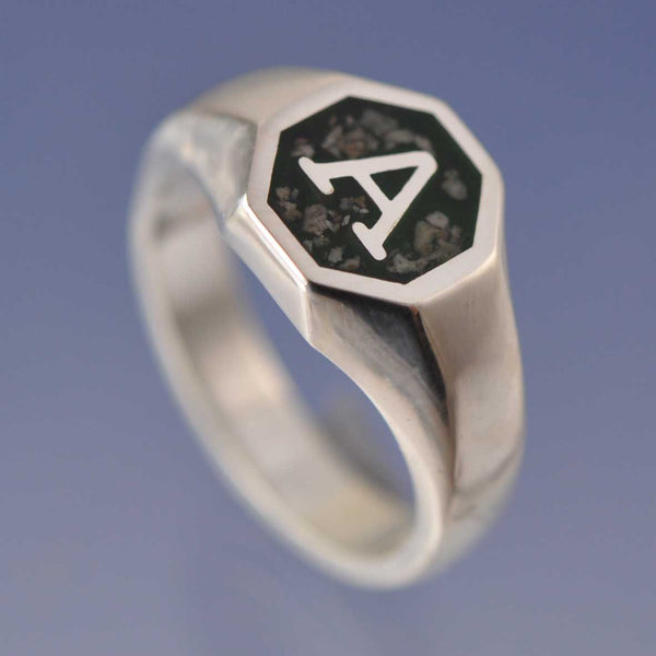 Cremation Ash Hexagon Initial Signet