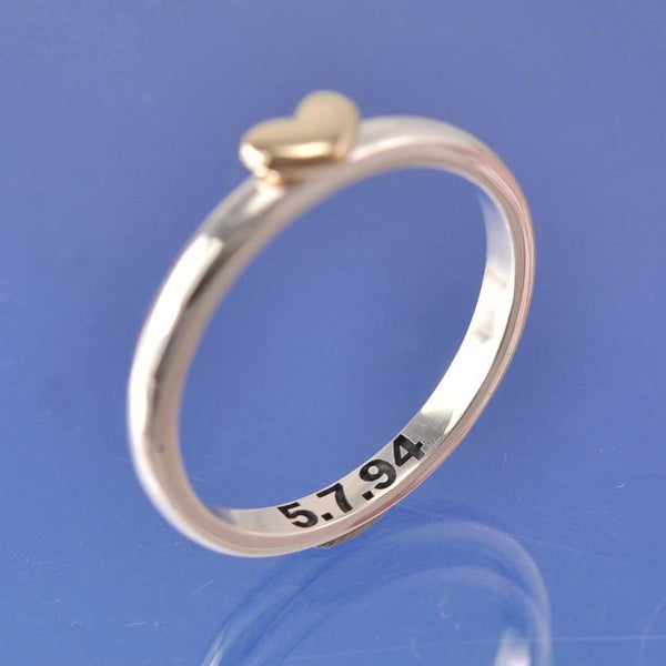 Bulbous Heart Personalised Ring