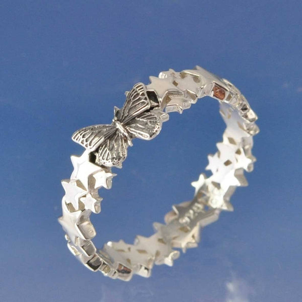 Cremation Ash Butterfly Star  Ring