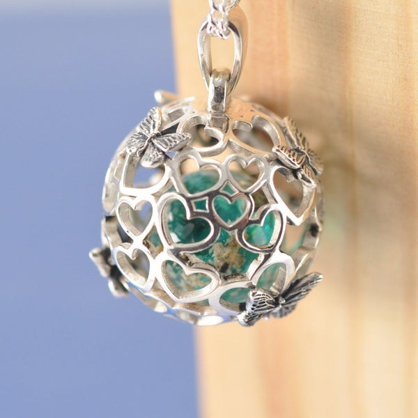 Butterfly Heart Sphere Cremation Ash Marble Necklace