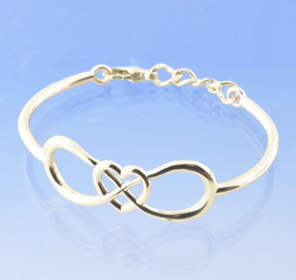 Infinity Heart Entwined Bangle With Cremation Ashes