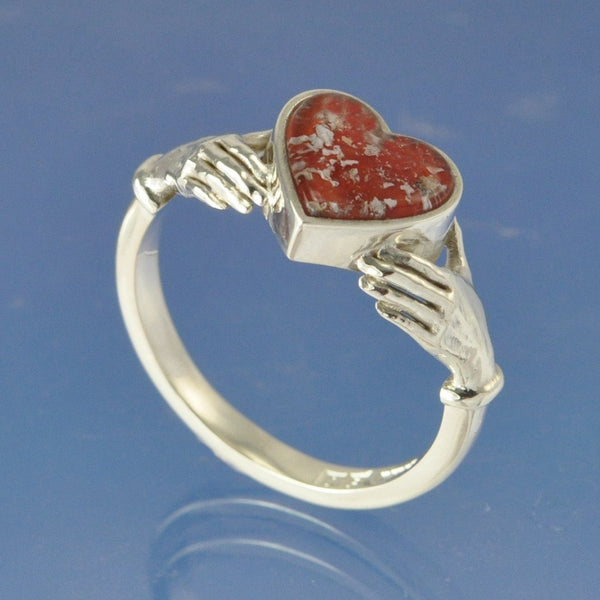 Cremation Ash Claddagh Heart Glass Ring