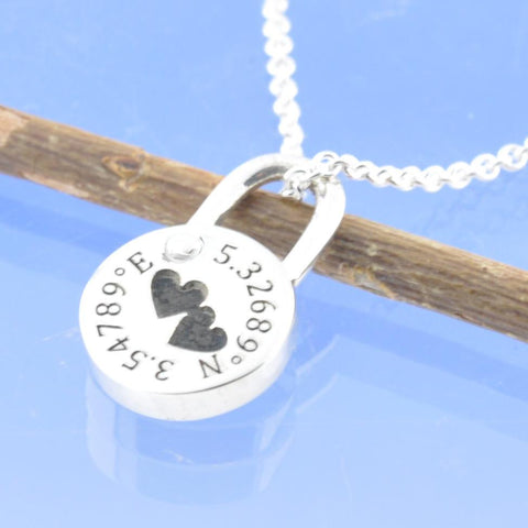 Co-ordinates. Personalised Padlock Pendant
