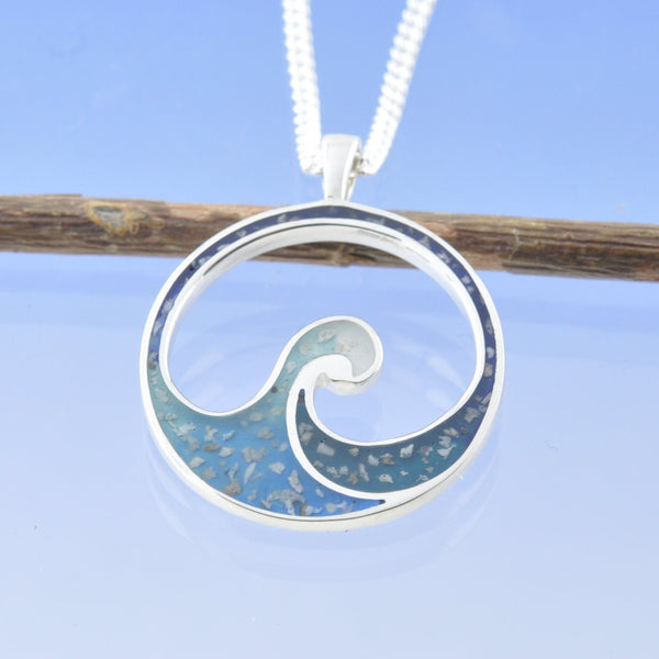 Crashing Wave Cremation Ash Pendant