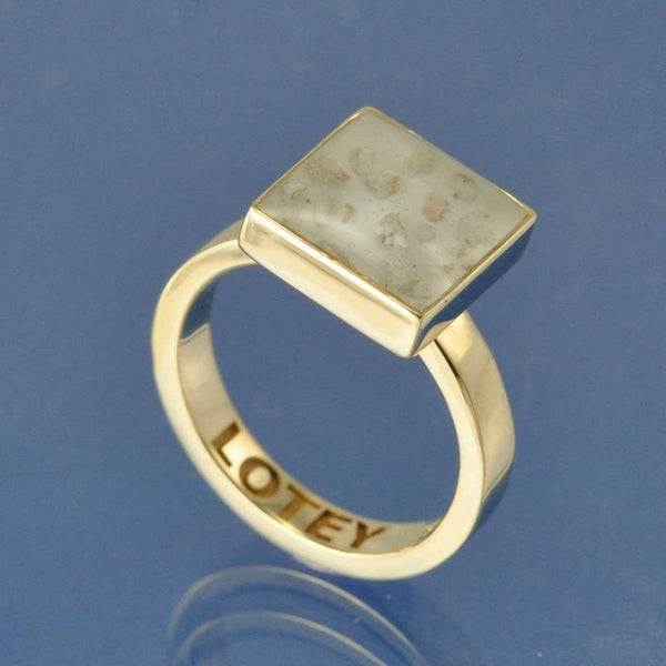 Cremation Ash Resin Square Ring