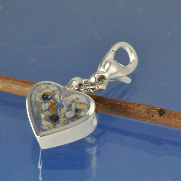 Cremation Ash Heart Charm WITH CLIP