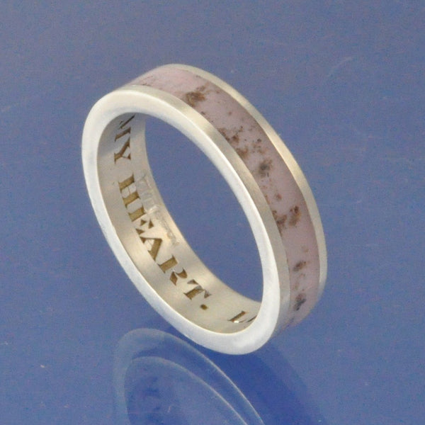 Cremation Ash Ring. 4mm Narrow Channel Set