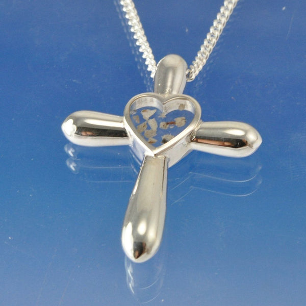Cremation Ash Heart within Bulbous Cross Necklace
