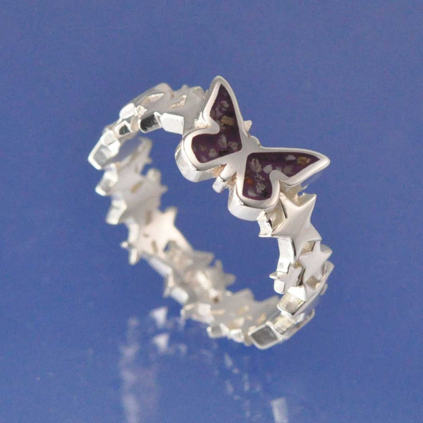 Cremation Ash Butterfly Star Resin Ring